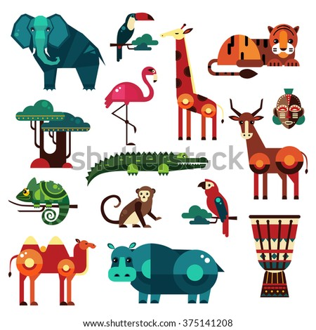 Africa and Savanna Animals Vector Illustration Set - stock vector