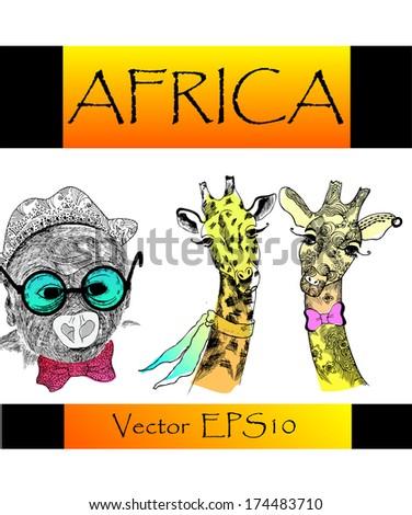 Africa animals. - stock vector