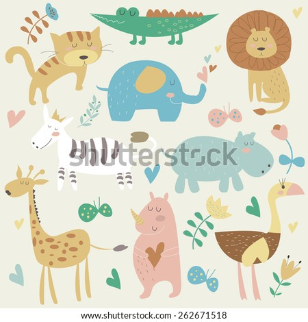 Africa animals in vector set. Cute tiger, alligator, lion, elephant, rhino, hippo, ostrich and zebra in cartoon style. - stock vector