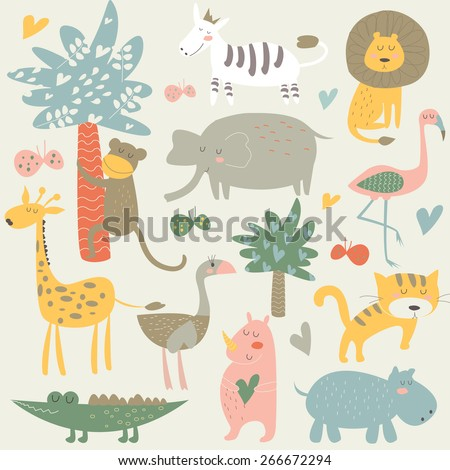Africa animals in vector set. Cute tiger, alligator, lion, elephant, rhino, hippo, ostrich, monkey, flamingo and zebra in cartoon style. - stock vector