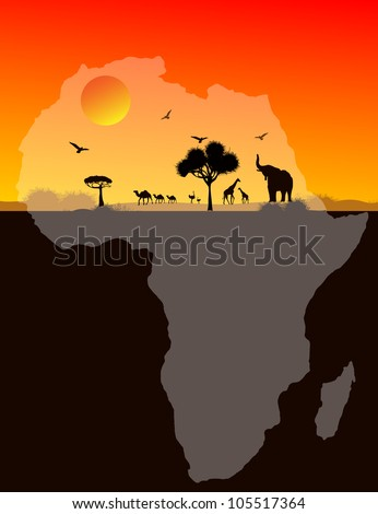 Africa animals over a map of Africa, vector image - stock vector
