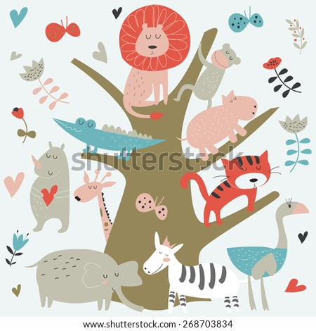 Africa animals sitting on a tree. Cute alligator, tiger, lion, monkey, elephant, rhino, hippo, ostrich and zebra in cartoon style. - stock vector