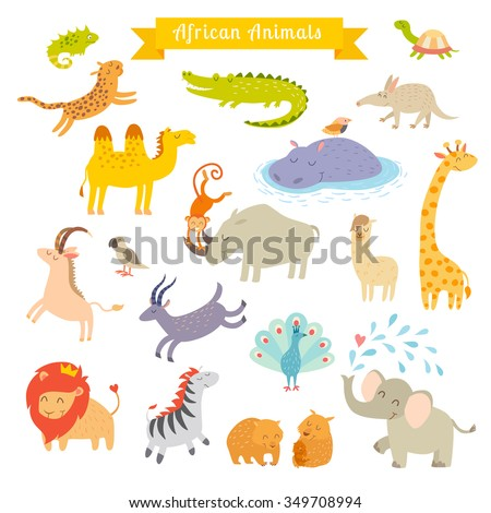 Africa animals vector illustration.Africa animals cartoon style.Africa animals set. Africa mammals art. Big vector set. Preschool, baby, continents, travelling, drawn. Isolated on white background - stock vector