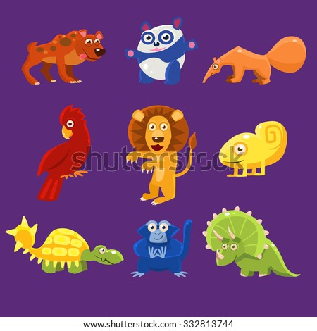 Africa Animals with Emotions, Vector Illustration Set - stock vector