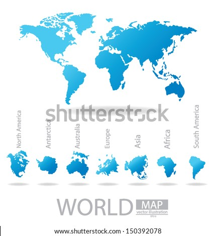 Africa. Antarctica. Asia. Australia. Europe. North america. South america. World Map vector Illustration. - stock vector