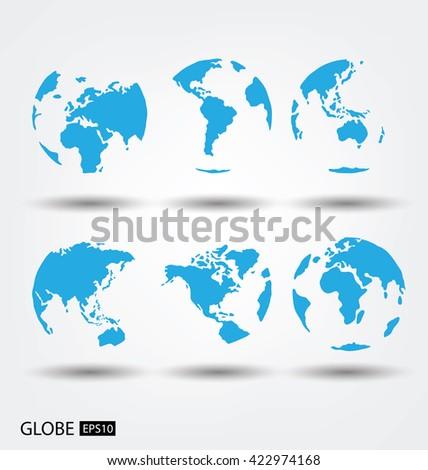 Africa. Asia. Australia. Europe. North america. South america. Globe vector Illustration. - stock vector