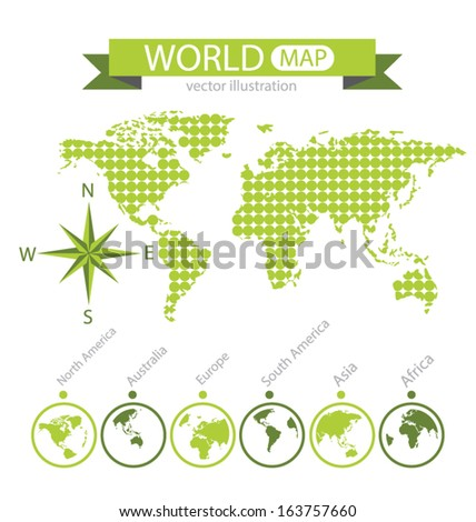 Africa. Asia. Australia. Europe. North america. South america. World Map vector Illustration.