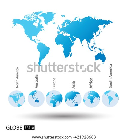 Africa asia australia europe north america vectores en stock asia australia europe north america south america world map gumiabroncs Choice Image
