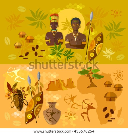Africa banner ancient tribes of African culture and traditions vector illustration - stock vector