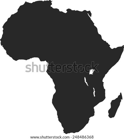 Africa black map, isolated on white background, vector - stock vector