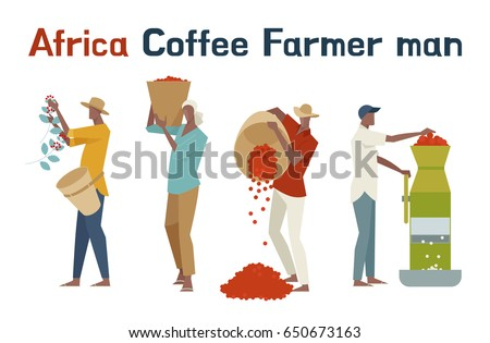 Africa coffee farmer man character vector illustration flat design