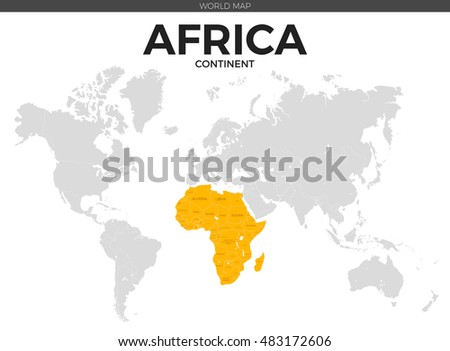 Africa Continent Location Modern Detailed Vector Stock Vector ...