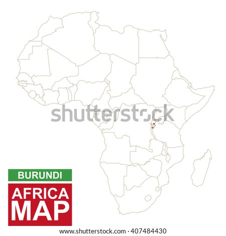 Africa contoured map with highlighted Burundi. Burundi map and flag on Africa map. Vector Illustration. - stock vector