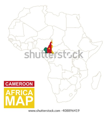 Africa contoured map highlighted cameroon cameroon stock vector africa contoured map with highlighted cameroon cameroon map and flag on africa map vector gumiabroncs Images