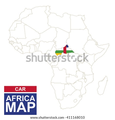 Africa contoured map with highlighted Central African Republic. CAR map and flag on Africa map. Vector Illustration. - stock vector