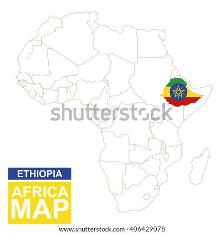 Africa contoured map with highlighted Ethiopia. Ethiopia map and flag on Africa map. Vector Illustration. - stock vector