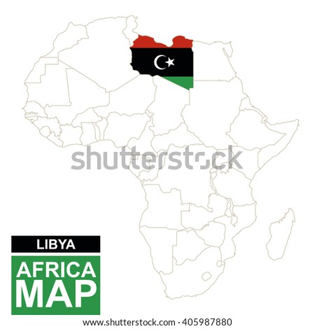 Africa contoured map with highlighted Libya. Libya map and flag on Africa map. Vector Illustration. - stock vector