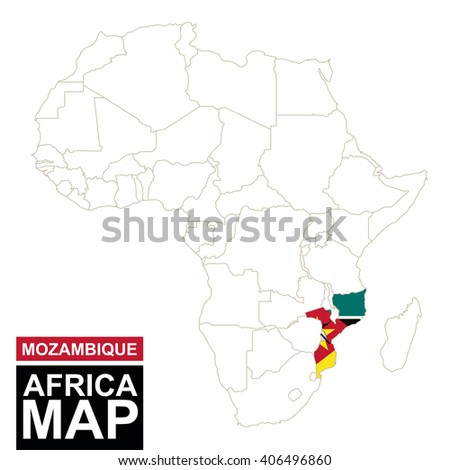 Africa contoured map with highlighted Mozambique. Mozambique map and flag on Africa map. Vector Illustration. - stock vector