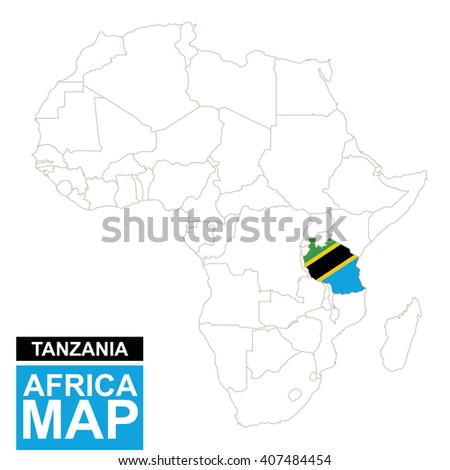 Africa contoured map with highlighted Tanzania. Tanzania map and flag on Africa map. Vector Illustration. - stock vector