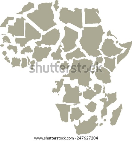 Africa Countries, isolated on white background, vector - stock vector