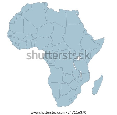 Africa Countries,political map , isolated on white background, vector - stock vector