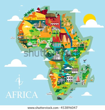 Africa Discover Design Vector Illustration. Great Map for Traveling.