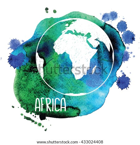 Africa. Earth and continents . Vector drawing on watercolor background staining. - stock vector