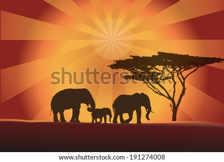 Africa elephants silhouette with tree and orange sun, vector illustration - stock vector