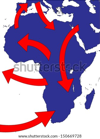 Africa Expansion Market Trade Routes Business Map - stock vector