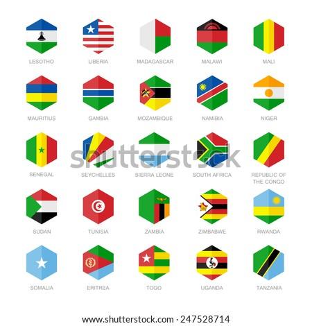 Africa Flag Icons. Hexagon Flat Design. - stock vector
