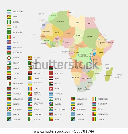 Africa flags and map vector illustration - stock vector