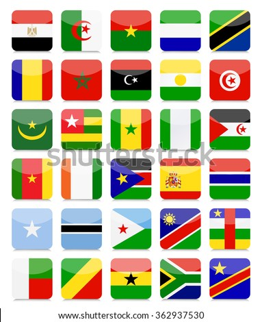 Africa Flags Flat Square Icon Set.All elements are separated in editable layers clearly labeled.