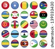 Africa Flags Round Buttons - stock photo