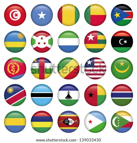 Africa Flags Round Buttons - stock vector