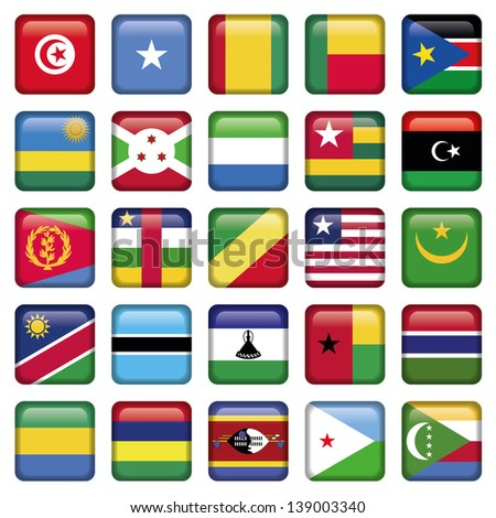 Africa Flags Square Buttons - stock vector