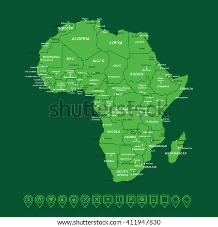 Africa Green Map vector illustration