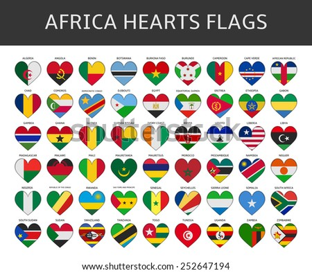 africa hearts flags vector