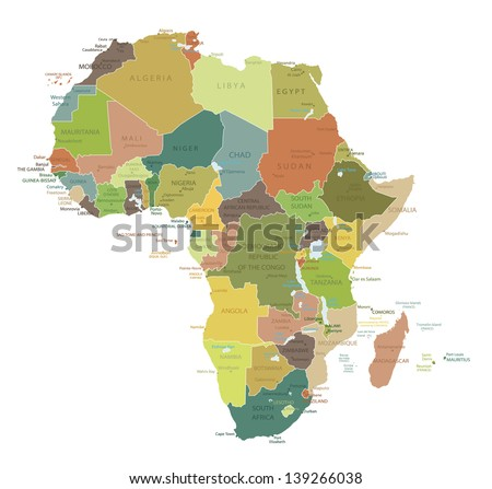 Africa-highly detailed map.All elements are separated in editable layers clearly labeled. Vector - stock vector