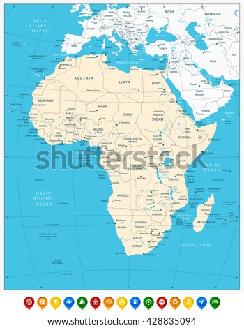 Africa highly detailed map and colored map pointers. Vector illustration. - stock vector