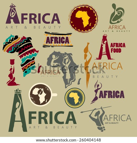 Africa Icon Collection, Abstract African Style (Vector Art) - stock vector