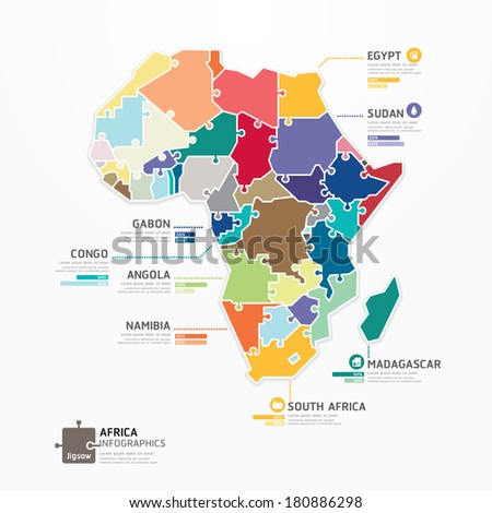 Africa Infographic Map Template jigsaw concept banner. vector illustration - stock vector