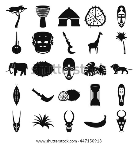 Africa jungle ethnic culture travel icon set on background