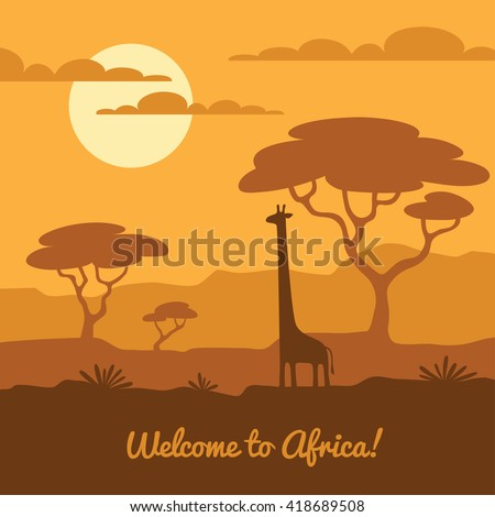 Africa landscape illustration with cute giraffe silhouette and african trees. Can be used for touristic or safari banner, poster design - stock vector