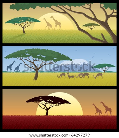 Africa Landscapes: Three African landscapes. Good for using as banners. No transparency used. Basic (linear) gradients used for the skies. - stock vector