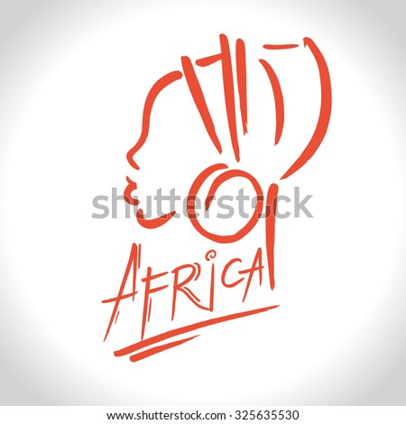 Africa  logo with a female silhouette - stock vector