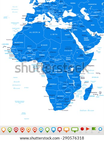 Africa - map and navigation icons - illustration - stock vector
