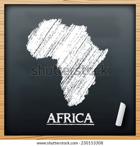 Africa map chalkboard design effect in vector format - stock vector