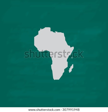 Africa Map. Icon. Imitation draw with white chalk on green chalkboard. Flat Pictogram and School board background. Vector illustration symbol - stock vector