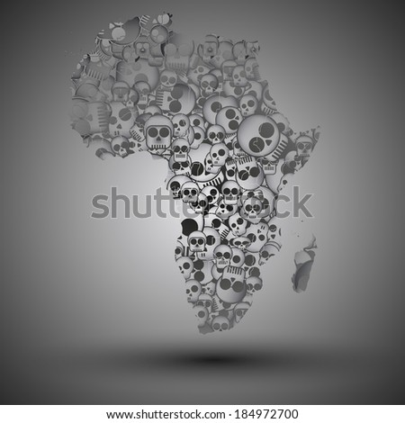 Africa map in the form of skulls background vector - stock vector