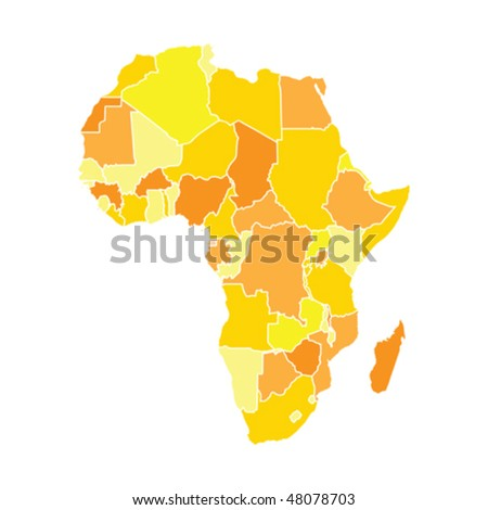 Africa map in yellow colors, isolated on white background - stock vector